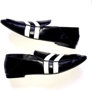 Zara black and white loafers size 36
